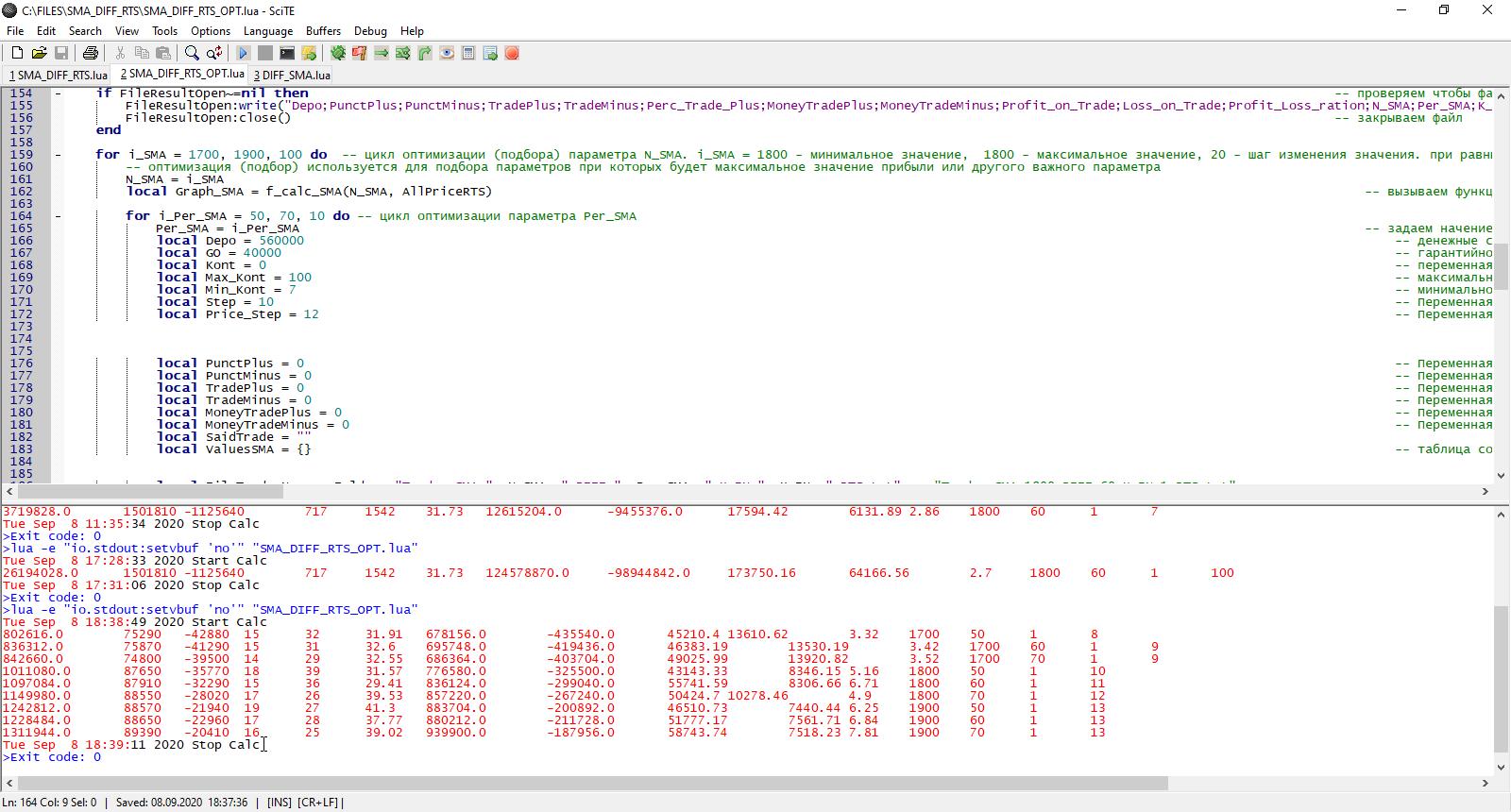 QUIK LUA результаты теста робота по нескольким параметрам фьючерс РТС