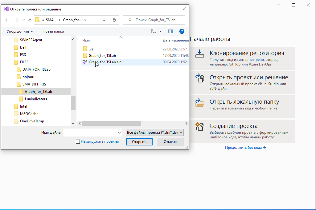 QUIK LUA Visual Studio проект для TSLab построение графиков