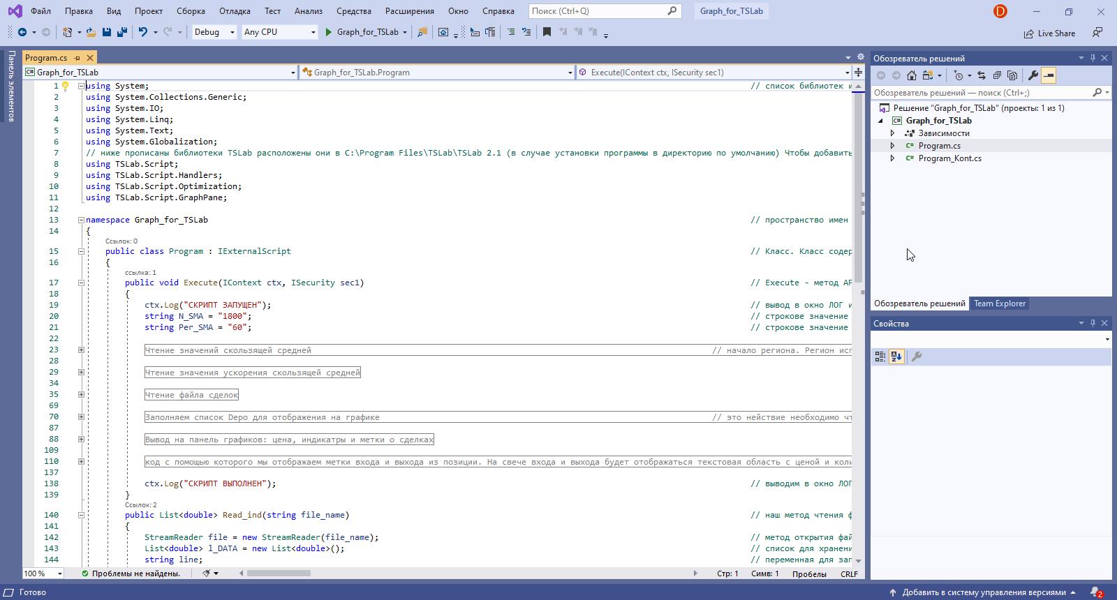 QUIK LUA Visual Studio код скрипта для отображения графиков