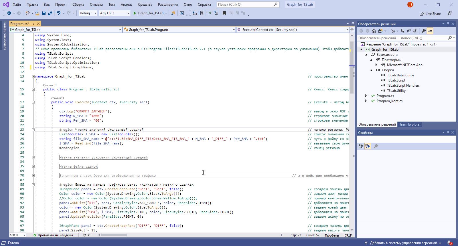 QUIK LUA TSLab код отображение графиков
