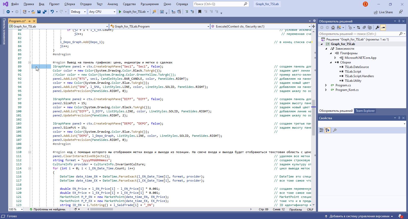 QUIK LUA TSLab создание графиков и индикаторов 1