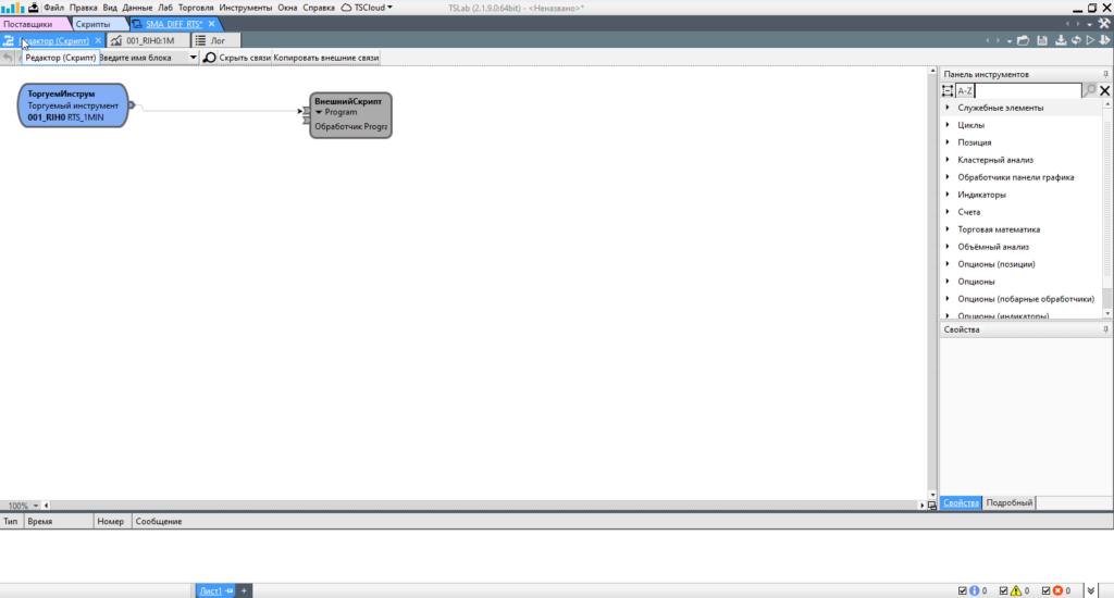 QUIK LUA TSLab окно редактор скрипт